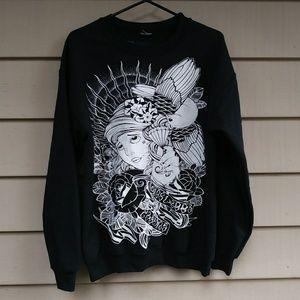 Tops - Black Tattoo Flash Sweatshirt Medium Streetwear